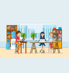 girls working at computer with office interior vector image vector image