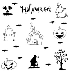 Halloween castle bat pumpkins tomb vector