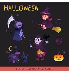 Halloween characters design cartoon vector image
