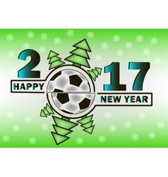 Happy new year and soccer ball vector