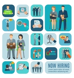 Human resources hiring flat icons set vector