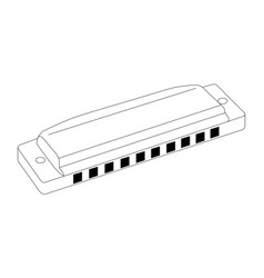 isolated harmonica outline vector image vector image