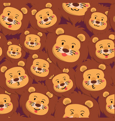 Lion seamless pattern full face expression vector