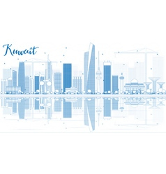 Outline kuwait city skyline with blue buildings vector