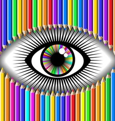 pencil and eye vector image vector image