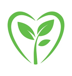 Sprout heart logo sign vector