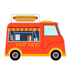 Street food festival hot dog trailer vector