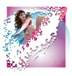 Surf girl vector
