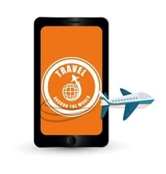 Travel around world aircraft smartphone vector