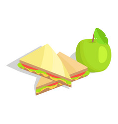 triangular sandwich with lettuce and green apple vector image vector image