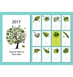 Tropical tree calendar 2017 design vector
