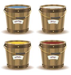 water milk honey and wine inside wood bucket vector image