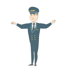 Young caucasian pilot with arms outstretched vector