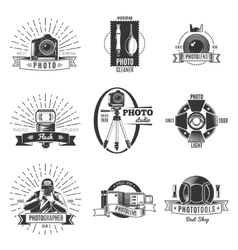 Vintage photographer label set vector