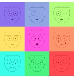 Smiley face set of emoticons emotion icons vector