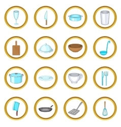 Basic dishes set cartoon style vector
