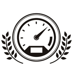 Speedometer prize in monochrome with olive branch vector