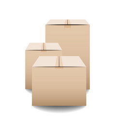 Brown closed carton delivery packaging boxes vector