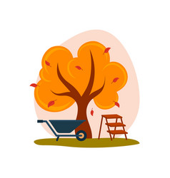 Autumn landscape yellow tree with falling leaves vector