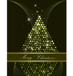 Christmas tree green and gold vector image