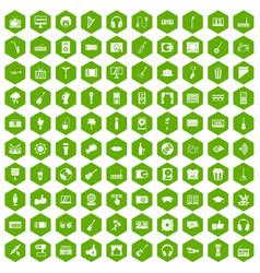 100 karaoke icons hexagon green vector