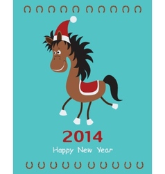 Christmas card with fun horse vector