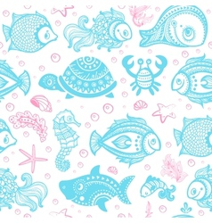 Set of fish and shells vector