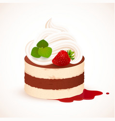 Tiramisu cake with cream and strawberry vector