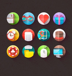 Textured Flat Icons for mobile and web Set 1 vector image