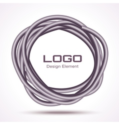 Hand drawn thick ware circle logo design element vector