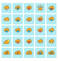 Cloud computing icon set in flat design style for vector