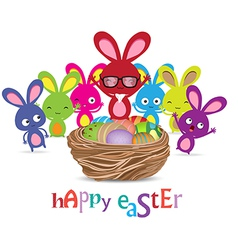 Happy easter with basket of eggs and bunny funny vector