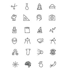 Science hand drawn doodle icons 4 vector