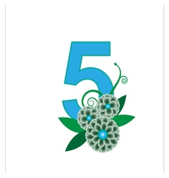 Number five with floral vector
