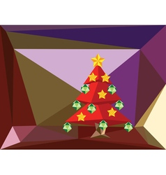 Red polygonal christmas tree2 vector
