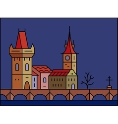 Prague cityscape icon vector