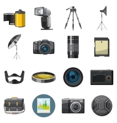 Photo icons set catoon style vector