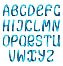 Blue ribbon alphabet vector image