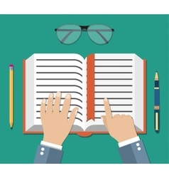 Book flat icon with hand reading person concept vector