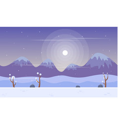 Art style mountain at winter background vector