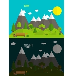 Beautiful nature Day and night in Modern Flat vector image
