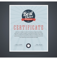 Best choice certificate for product or service vector image vector image