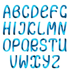 Blue ribbon alphabet vector
