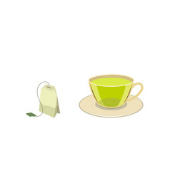 Cap of green tea with bag flat vector