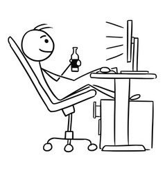 Cartoon of man sitting in front of computer and vector