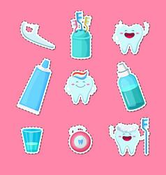 Cartoon teeth hygiene stickers isolated on vector