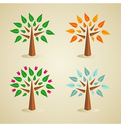 Colorful seasonal tree set vector image