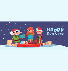 cute elf on happy new year greeting card merry vector image