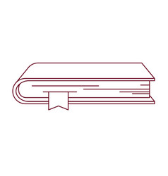 Dark red line contour of book with bookmark vector