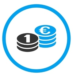 Euro coin columns rounded icon vector